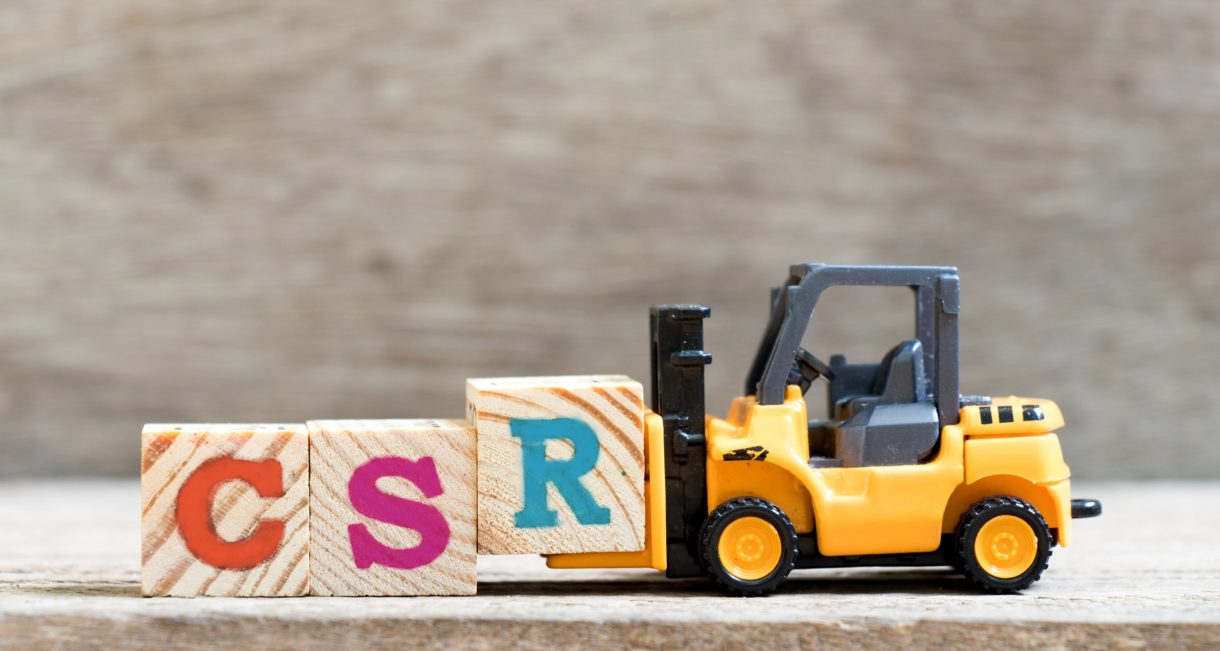 Toy forklift with blocks saying CSR