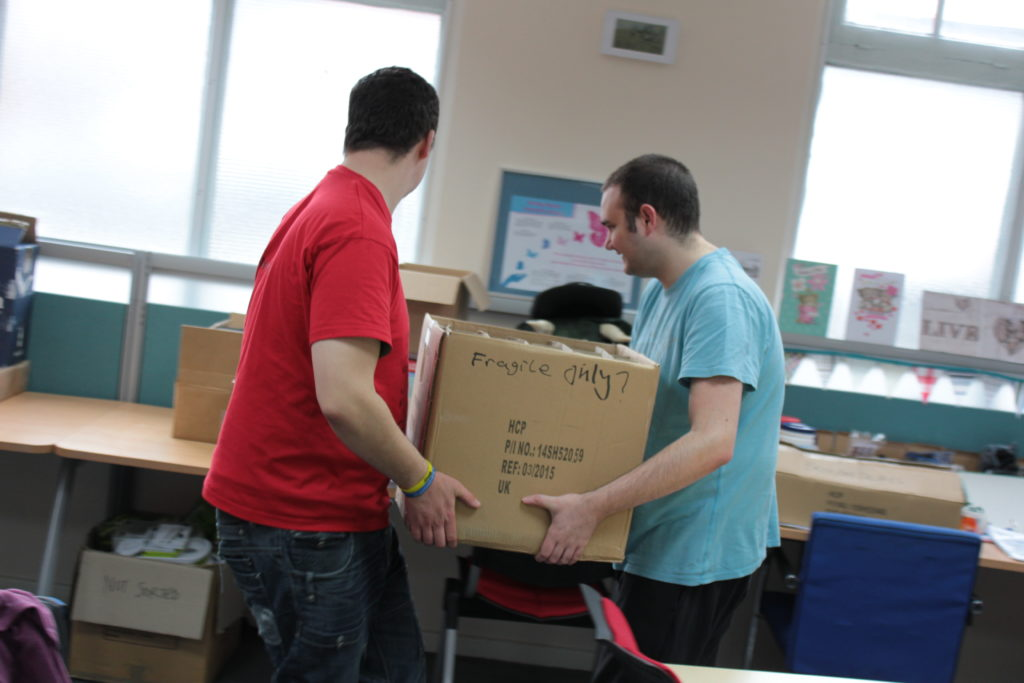 Moving boxes during one of our GIFTED sessions