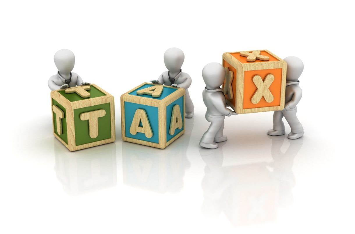 Business People Carrying Tax Buzzword Cubes 3d Rendering
