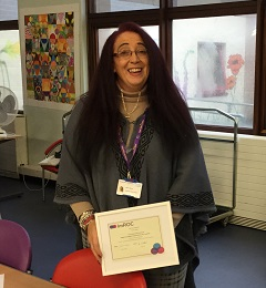 Susan with her LPT Peer Support Training certificate