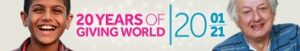 Giving World 20 Years Banner