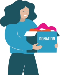 Woman holding a box of donated goods